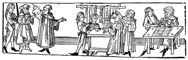 Daily routine of medieval merchant (medieval woodcut)